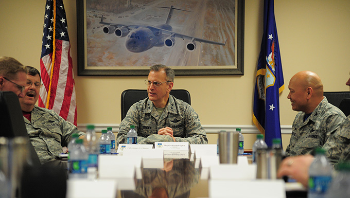 Maj. Gen. Randall A. Ogden, Fourth Air Force commander, meets with executive leadership from Joint Base Charleston during a visit March 2, 2018 at JB Charleston, S.C. Ogden discussed innovation and progress while consulting with Airmen throughout his first visit of the base (U.S. Air Force photo by Senior Airman Jonathan Lane).
