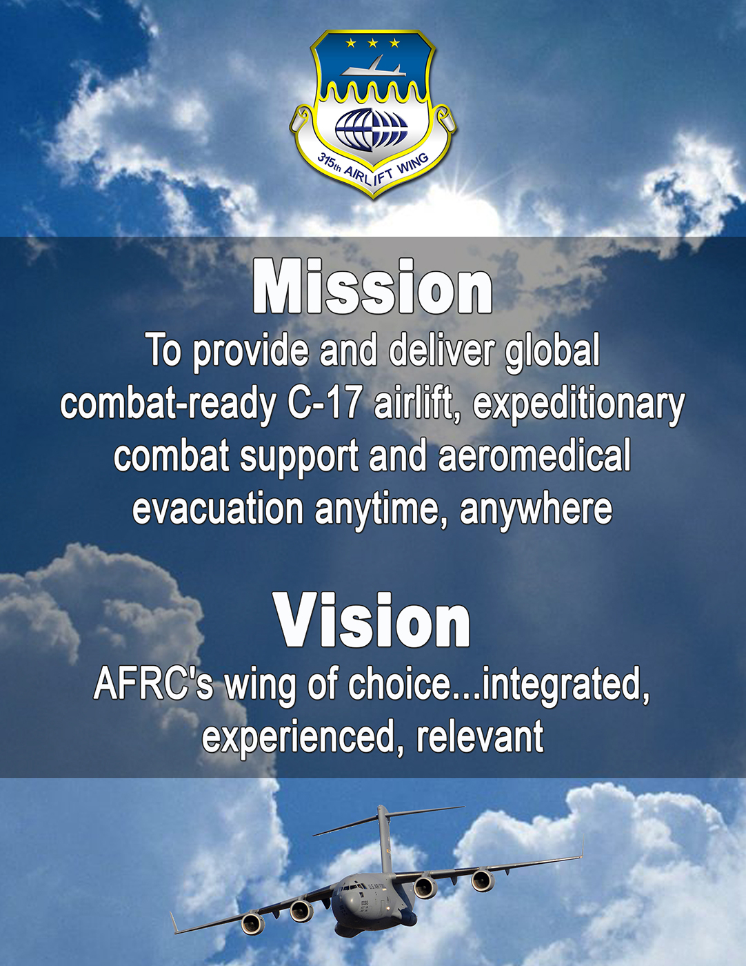 315 AW Wing Mission & Vision
